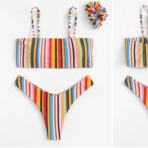 Shein Multicolored Striped Swimsuit